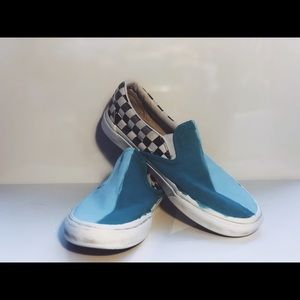 Painted blue/turquoise custom slip-on vans